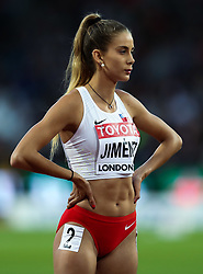 London, August 08 2017 . Isidora Jiménez, Chile, in the women's 200m heats on day five of the IAAF London 2017 world Championships at the London Stadium. © Paul Davey.