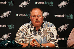 Philadelphia Eagles Head Coach Andy Reid speaks to the media during a press conference for First Round Draft Pick Danny Watkins at the Novacare Complex on Friday April 29th 2011 in Philadelphia, Pennsylvania. Danny Watkins was the 23rd overall pick. (Photo By Brian Garfinkel)