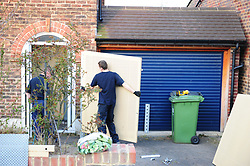 © Licensed to London News Pictures.06/04/2018<br /> HITHER GREEN, UK.<br /> METAL SECURITY GRIILS BEING FITTED TO RICHARD OSBORN- BROOKS HOME THIS EVENING. <br /> DAY 3. Hither Green Burglary Murder. South Park Crescent,Hither Green.<br /> Police outside the home of 78 year old Richard Osborn-Brooks who has been bailed for stabbing a burglar to death in his home.<br /> Photo credit: Grant Falvey/LNP