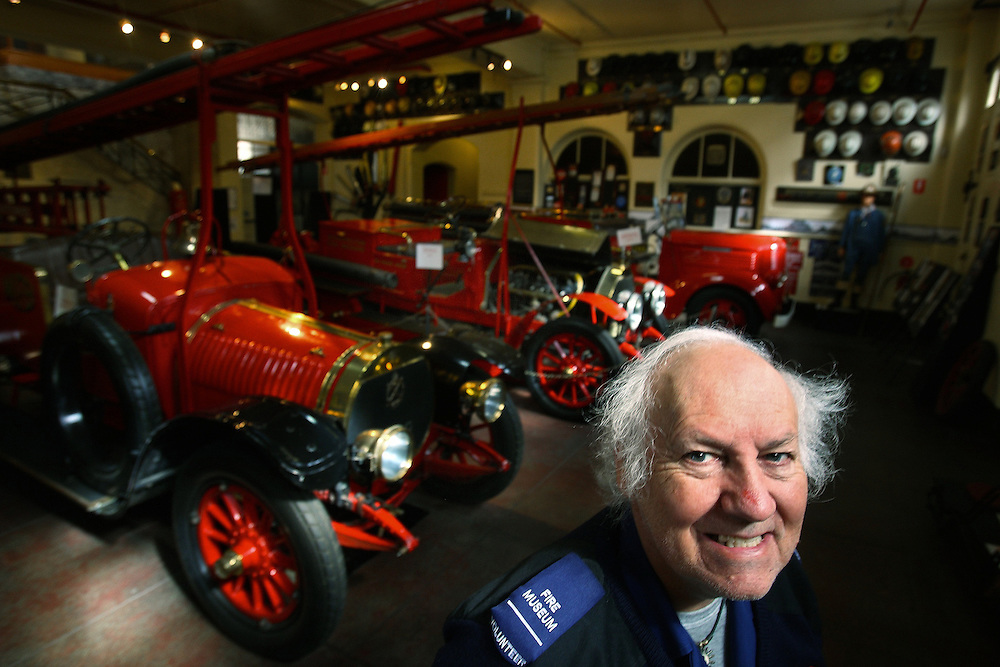 Tony Paynter - Curator, Fire Services Museum of Victoria with a Hotchkiss fire engine which was first imported from France in 1912    Pic By Craig Sillitoe   17/04/2009 SPECIAL 000 melbourne photographers, commercial photographers, industrial photographers, corporate photographer, architectural photographers, This photograph can be used for non commercial uses with attribution. Credit: Craig Sillitoe Photography / http://www.csillitoe.com<br /> <br /> It is protected under the Creative Commons Attribution-NonCommercial-ShareAlike 4.0 International License. To view a copy of this license, visit http://creativecommons.org/licenses/by-nc-sa/4.0/.