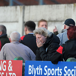 TELFORD COPYRIGHT MIKE SHERIDAN Bucks fans show their disappointment at full time during the National League North fixture between Blyth Spartans and AFC Telford United at Croft Park on Saturday, September 28, 2019<br /> <br /> Picture credit: Mike Sheridan<br /> <br /> MS201920-023