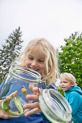 Young blonde girl collecting snails in jam-jar