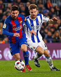 January 26, 2017 - Barcelona, Spain - Asier Illarramendi and Leo Messi during the 1/4 final King Cup match between F.C. Barcelona v Real Sociedad, in Barcelona, on January 26, 2017. (Credit Image: © Joan Valls/NurPhoto via ZUMA Press)