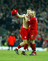 Liverpool's John Arne Riise (l) celebrates his equalising goal against Middlesbrough with team-mate Danny Murphy (r) during the Premiership  match at Anfield, Liverpool, Saturday, February 8th, 2003.<br /><br />Pic by David Rawcliffe/Propaganda<br /><br />Any problems call David Rawcliffe on +44(0)7973 14 2020 or email david@propaganda-photo.com - http://www.propaganda-photo.com