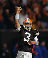 Quarterback Derek Anderson pumps his fist after watching Jamal Lewis score one of his four touchdowns  Sunday, Nov. 4, 2007 against Seattle.