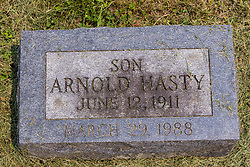 Stouts Grove Cemetery<br /> <br /> Hasty, Arnold - June 12 1911 - March 29, 1988