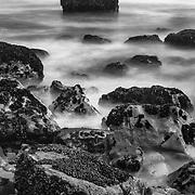 Mussels And Rocky Shoreline - North Wilder Ranch Cove - Santa Cruz, CA - Black & White