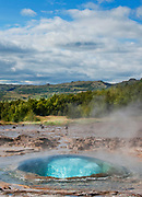 A geysir erupts in a geothermal field in Iceland