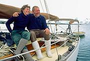 English yachties Pauline & Tim Carr aboard Curlew, Port Lockroy, Antarctica