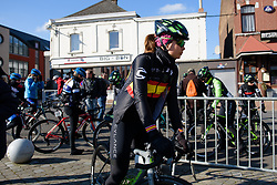 Reigning champion, Sheyla Gutierrez Ruiz makes her way to sign on at Le Samyn des Dames 2018 - a 103 km road race on February 27, 2018, from Quaregnon to Dour, Belgium. (Photo by Sean Robinson/Velofocus.com)
