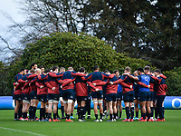 Rugby Union - 2020 Six Nations Championship - England Training Session & Press Conference pre-Ireland<br /> <br /> England players in a huddle, at Pennyhill Park Hotel.<br /> <br /> COLORSPORT/ASHLEY WESTERN