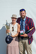 """Henley on Thames, United Kingdom, 8th July 2018, Sunday,  """"Henley Royal Regatta"""",  Princess Royal Challenge Cup, Left, winner Jeannine GMELIN SUI W1X, Ruderclub Uster, with Trophy, Right Robin DOWELL, Head Coach Switzerland, View, Henley Reach, River Thames, Thames Valley, England, UK."""