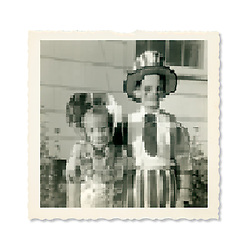 Little girl as little Bo Peep, little boy as Uncle Sam costumes pixellation