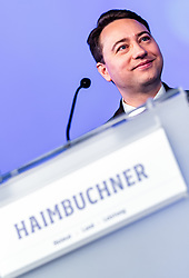 06.04.2019, Design Center, Linz, AUT, 34. Ordentlicher Landesparteitag der FPÖ Oberösterreich, im Bild FPÖ Landes-Parteiobmann Manfred Haimbuchner // FPÖ State Party Chairman Manfred Haimbuchner during the 34th Ordinary party convention of the FPÖ Upper Austria at the Design Center in Linz, Austria on 2019/04/06. EXPA Pictures © 2019, PhotoCredit: EXPA/ JFK