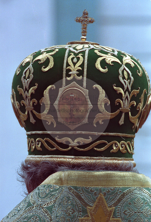 Alexius II, Patriarch of the Russian Orthodox Church during a ceremony at Trinity Monastery of St. Sergius. Close up of the crown worn by Alexius.