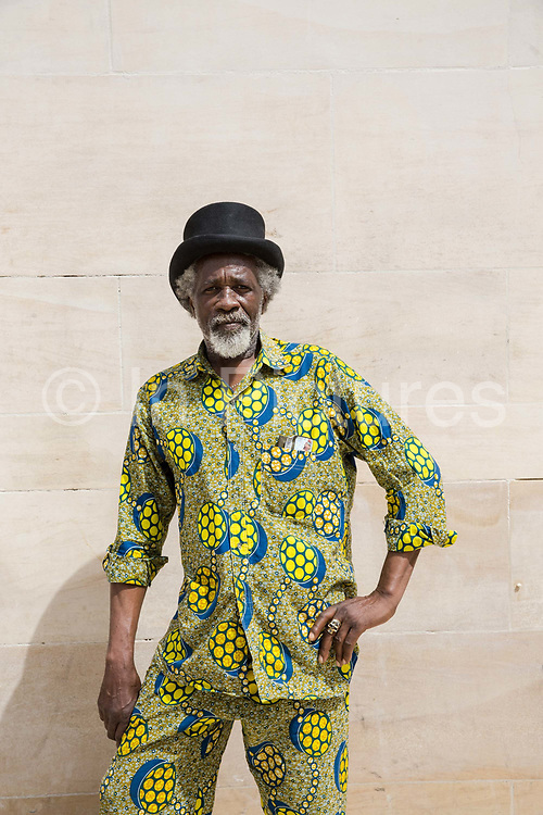 Glennford Griffiths at Windrush Square to celebrate the 70th anniversary of the arrival of the passenger liner, Empire Windrush, and the men and women who came to England from the Caribbean on the 23rd June 2018 in Brixton in the United Kingdom. The arrival of 492 passengers from the Caribbean on the 22 June 1948 marked a seminal moment in Britain's history.