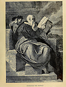 Zechariah the Prophet from ' The Doré family Bible ' containing the Old and New Testaments, The Apocrypha Embellished with Fine Full-Page Engravings, Illustrations and the Dore Bible Gallery. Published in Philadelphia by William T. Amies in 1883