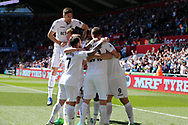 Fernando Llorente of Swansea city (9) celebrates with teammates after he scores his teams 1st goal.  Premier league match, Swansea city v Stoke City at the Liberty Stadium in Swansea, South Wales on Saturday 22nd April 2017.<br /> pic by Andrew Orchard, Andrew Orchard sports photography.