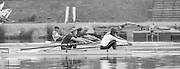Staines, GREAT BRITAIN,   <br /> GBR W2-. Bow Alison BONNER and Kim THOMAS.<br /> British Rowing Women's Heavy Weight Assessment. Thorpe Park. Sunday 21.02.1988,<br /> <br /> [Mandatory Credit, Peter Spurrier / Intersport-images] 1987 GBR Women's H/Weight Assesment Thorpe Park, Surrey.UK