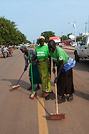Women cleaning the streets of the capital on the day before South Sudan declares independence from the North..Juba, South Sudan. 08/07/2011..Photo © J.B. Russell
