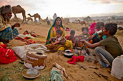 A family prepares tea at the world's largest annual cattle fair in the desert town of Pushkar, in the Indian state of Rajasthan. Every year thousands of camel herders from the semi-nomadic Rabari tribe, who make a living rearing animals, travel for two to three weeks across 500 kilometers to set up camp in the desert dunes near Pushkar to sell their livestock. The herders sell more than 20,000 camels, horses and other animals at the annual cattle fair.