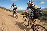 Ariane Kleinhans (left) and Annika Langvad of Team RECM2 during stage 4 of the 2014 Absa Cape Epic Mountain Bike stage race from The Oaks Estate in Greyton, South Africa on the 27 March 2014<br /> <br /> Photo by Greg Beadle/Cape Epic/SPORTZPICS