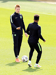 Kevin De Bruyne of Manchester City with Raheem Sterling - Mandatory byline: Matt McNulty/JMP - 25/04/2016 - FOOTBALL - City Football Academy - Manchester, England - Manchester City v Real Madrid - UEFA Champions League Training Session