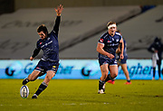 Sale Sharks fly-half AJ McGinty kicks a penalty during the Gallagher Premiership Rugby match Sale Sharks -V- Wasps  at The AJ Bell Stadium, Greater Manchester, England United Kingdom, Sunday, December 27, 2020. (Steve Flynn/Image of Sport)