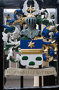 Ancient family coat of arms on railings at De Burcht  historic site, Leiden, Netherlands