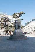 Miguel de Cervantes Saavedra's statue in front of the Spanish Congress of Deputies in Madrid, Spain