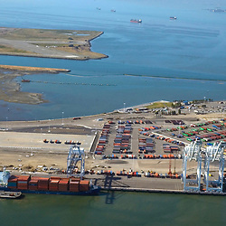 Aerial view of Container Ships at the port of oakland