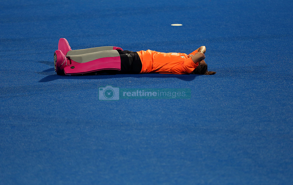 Argentina's Belen Suscci reacting after losing in the penalty shootout at full time
