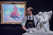 AUGUSTE RODIN L'Éternel Printemps Conceived in 1884 and carved in 1901-02. Estimate US$ 8,000,000 – 12,000,000 in front of ANDRÉ DERAIN Les Voiles rouges Painted in 1906. Estimate US$ 15,000,000 – 20,000,000 - Sotheby's previews New York sales of Impressionist, Modern and Contemporary Art.   London Exhibition Dates 9- 13 April 2016, New York Sale Dates Impressionist & Modern Art Evening Sale: 9 May 2016 and Contemporary Art Evening Auction: 11 May 2016