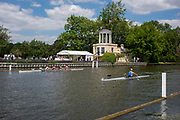Henley on Thames, England, United Kingdom, 3rd July 2019, Henley Royal Regatta, Henley Reach, Crews Training by, Temple Island, during the Luncheon Interval,  [© Peter SPURRIER/Intersport Image]<br /><br /><br />13:27:22 1919 - 2019, Royal Henley Peace Regatta Centenary,
