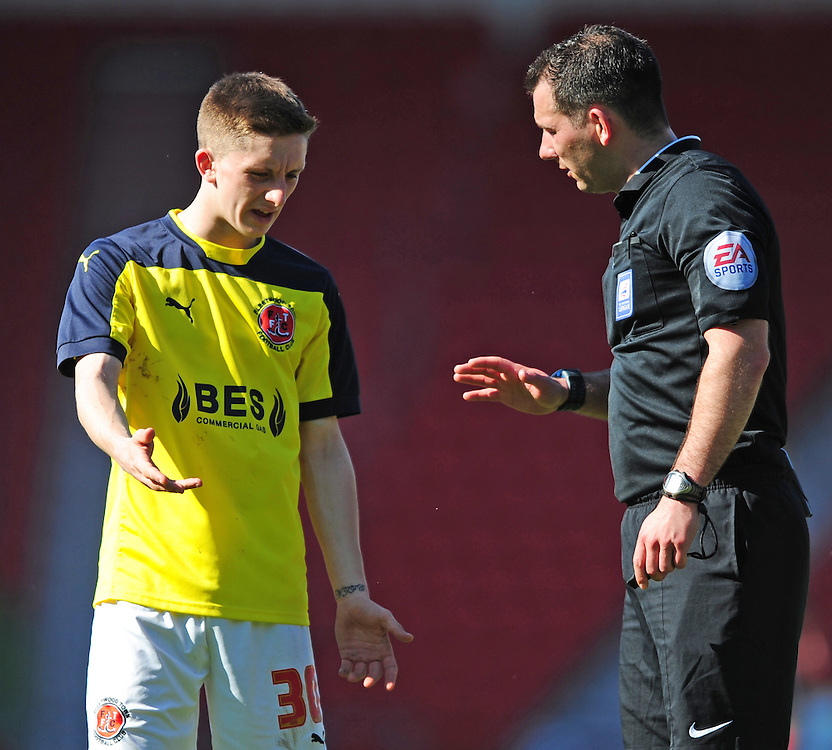 Fleetwood Town's Ashley Hunter speaks to Referee Tim Robinson<br /> <br /> Photographer Chris Vaughan/CameraSport<br /> <br /> Football - The Football League Sky Bet League One - Doncaster Rovers v Fleetwood Town - Saturday 18th April 2015 - Keepmoat Stadium - Doncaster<br /> <br /> © CameraSport - 43 Linden Ave. Countesthorpe. Leicester. England. LE8 5PG - Tel: +44 (0) 116 277 4147 - admin@camerasport.com - www.camerasport.com