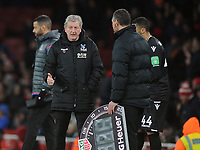 Football - 2017 / 2018 Premier League - Arsenal vs. Crystal Palace<br /> <br /> Palace Manager, Roy Hodgson, complains to the forth official Andre Mariner at The Emirates.<br /> <br /> COLORSPORT/ANDREW COWIE
