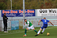 Cove Rangers Harry Milne (3) dribbles past Martin Boyle (10) of Hibernian during the Betfred Scottish League Cup match between Cove Rangers and Hibernian at Balmoral Stadium, Aberdeen, Scotland on 10 October 2020.