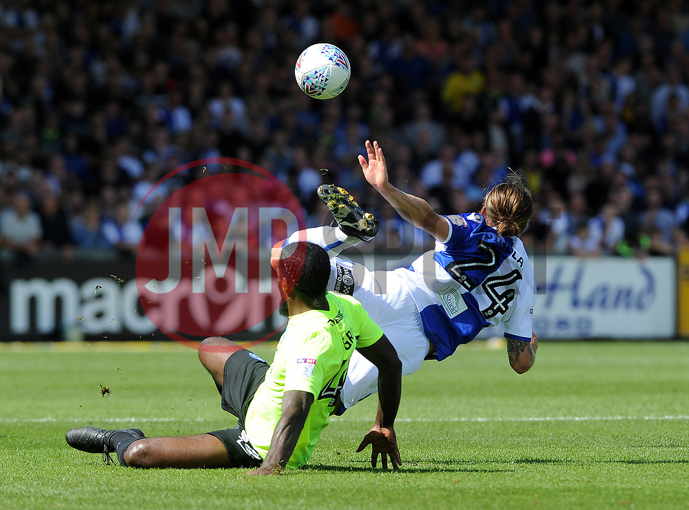 Stuart Sinclair of Bristol Rovers is brought down by Anthony Grant of Peterborough United - Mandatory by-line: Neil Brookman/JMP - 12/08/2017 - FOOTBALL - Memorial Stadium - Bristol, England - Bristol Rovers v Peterborough United - Sky Bet League One