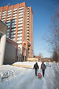 Tynda street Scene in winter. Siberia, Russia