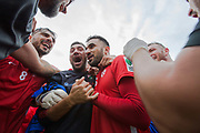 Celebrations as Northern Cyprus win 3 - 2 against Padania  during the Conifa Paddy Power World Football Cup semi finals on the 7th June 2018 at Carshalton Athletic Football Club in the United Kingdom. The CONIFA World Football Cup is an international football tournament organised by CONIFA, an umbrella association for states, minorities, stateless peoples and regions unaffiliated with FIFA.