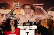 March 8, 2019; Verona, NY, USA; Callum Johnson steps on the scale to weigh in for his bout at the Turning Stone Resort and Casino in Verona, NY.  Mandatory Credit: Ed Mulholland/Matchroom Boxing USA