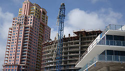 A crane brought down by the winds of Hurricane Irma at the under-construction Auberge residence and hotel in Fort Laudedale is seen on Monday, September 11, 2017, in Fort Lauderdale, FL, USA Photo by Joe Cavaretta/Sun Sentinel/TNS/ABACAPRESS.COM