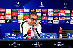 PSG Manager Laurent Blanc talks to the press - Mandatory byline: Matt McNulty/JMP - 07966386802  - FOOTBALL - Manchester City v PSG - Etihad Stadium -Manchester,England - UEFA Champions League