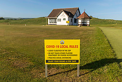 Golf returns to Scotland, Dunbar, 29 May 2020 <br /> <br /> Pictured: The COVID-19 local rules on display at Dunbar Golf Club. Players have returned to the greens as the first phase of COVID restrictions are lifted.<br /> <br /> (c) Richard Dyson | EdinburghElitemedia.co.uk 2020