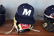CARY, NC - FEBRUARY 23: Monmouth hat and glove. The Monmouth University Hawks played the Saint John's University Red Storm on February 23, 2018 on Field 2 at the USA Baseball National Training Complex in Cary, NC in a Division I College Baseball game. St John's won the game 3-0.