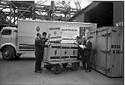 01/08/1962<br /> 08/01/1962<br /> 01 August 1962 <br /> Loading Sunbeam Jerseywear  onto ship at B and I North Wall, Dublin. Image shows boxes being unloaded from a truck prior to being loaded on the ship at the quay.