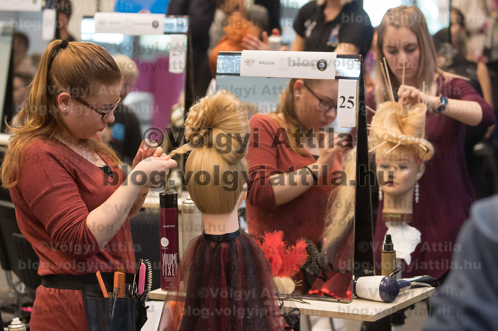 Participants compete during the 60th Hair Styling National Championship held in Budapest, Hungary on Oct. 28, 2018. ATTILA VOLGYI