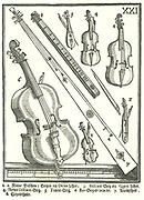 Violins and related instruments. l and 2: Pocket Violins, 3: Treble Violin, 4: Standard Treble Violin, 5: Tenor Violin, 6: Bass Viol, 7: Trumscheit, 8: Scheidtholst.  Woodcut from Michael Praetorius 'Syntagma Musicum', 1615-1620.