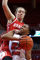 01 January 2017: Vanessa Markert  climbs on the shoulder of Viria Livingston during an NCAA Missouri Valley Conference Women's Basketball game between Illinois State University Redbirds the Braves of Bradley at Redbird Arena in Normal Illinois.