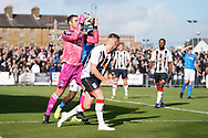 Carl Pentney of Maidenhead United comes out to make a save during the The FA Cup 1st round match between Maidenhead United and Portsmouth at York Road, Maidenhead, United Kingdom on 10 November 2018.
